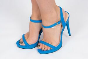 9fd577bd3f6 Details about electric blue snakeskin pattern single strap 'Barely There'  heels River Island 5
