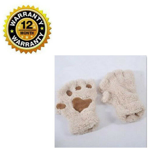 Half Finger Gloves Women Beige Beautiful Bear Paw Warm Thick Soft Fleece Mittens