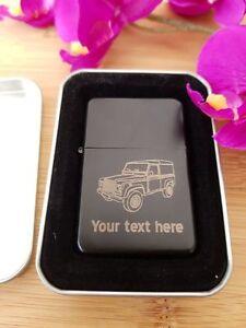 Land-Rover-Defender-Personnalise-Grave-Briquet-Cadeaux-Cadeau-Cadeau-Marchandise