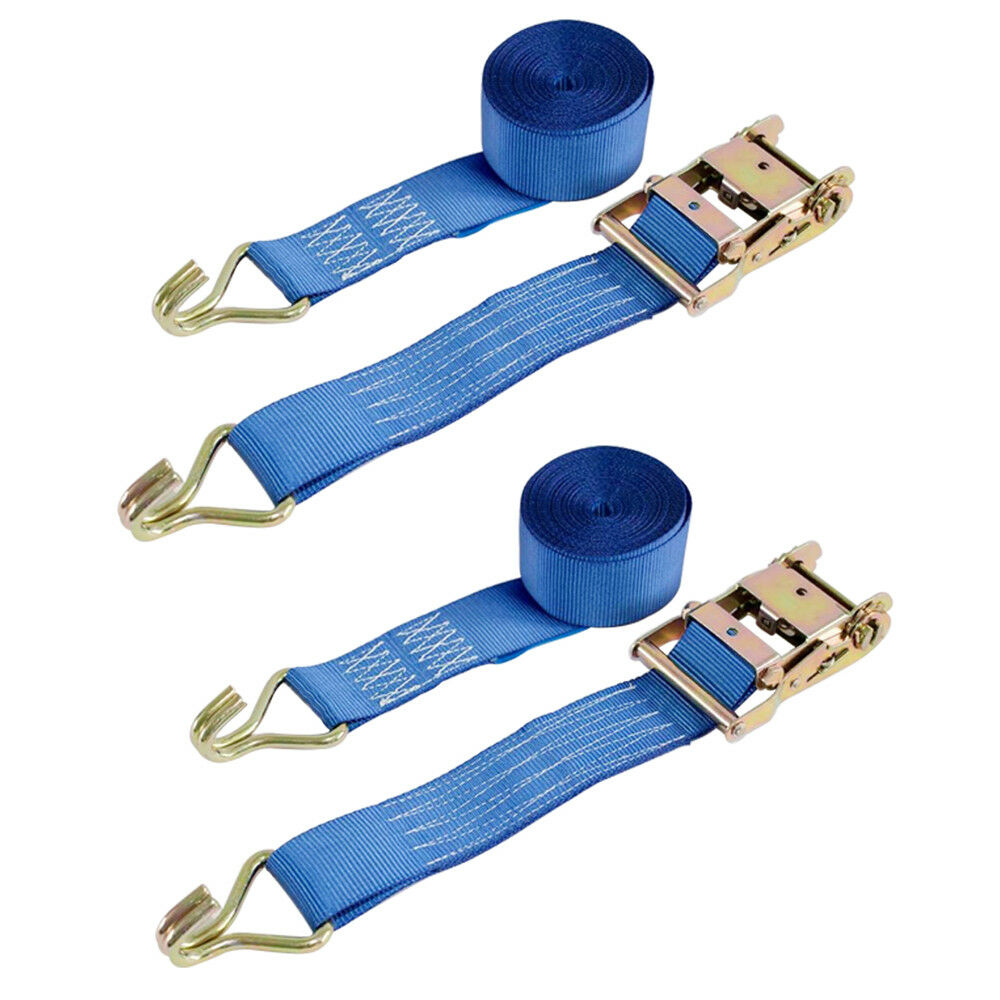 2x Ratchet Strap Tie Down 2T 5m x50mm Iron Handle and Double J hook