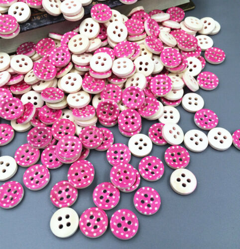 100pcs DIY pink color 4 Holes Wooden Buttons Sewing Clothing accessories 13mm