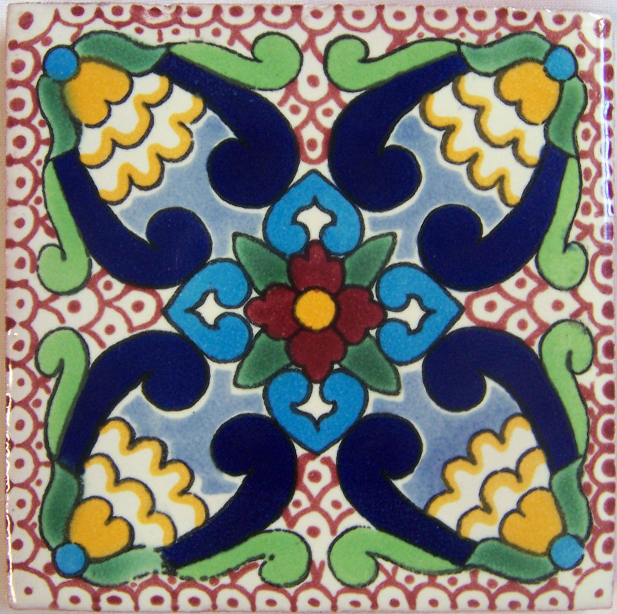 C306 - Mexican Handmade Talavera Clay Tile Folk Art 4x4