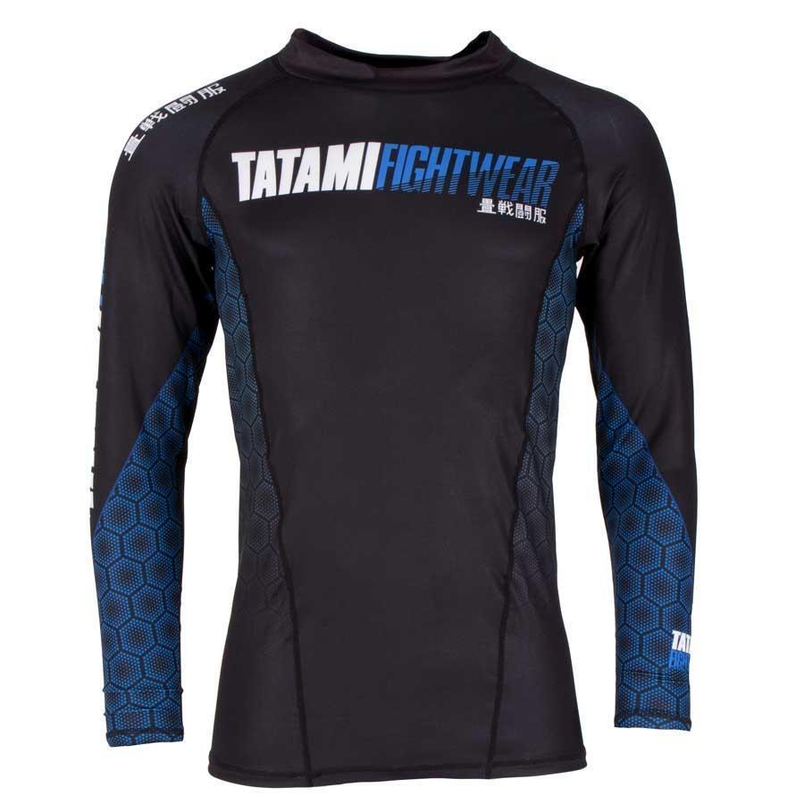Tatami Fightwear Mens bluee Hexagon Rash Guard Compression BJJ Gym Jiu Jitsu MMA
