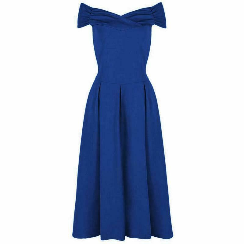 Königsblau Wickeloptik Bardot 50s Jahre Swing Kleid