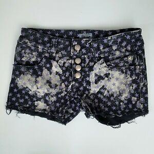 Tripp NYC Gothic Punk Purple Stars Black Distressed Cut Off Jean Shorts Size 3