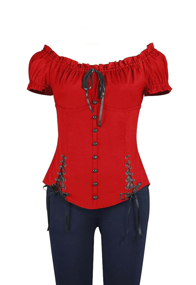 Plus Size Red Gothic Double Corset Lacing Flirty Top 1X 2X 3X 4X