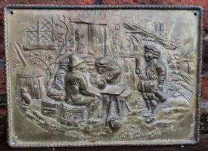 Vintage Brass plate Plaque Tavern scene wall hanging David Tenier 1600s Antique