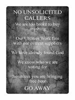 NO UNSOLICITED CALLERS Funny Front Door Metal Aluminium Sign Plaque House Gift