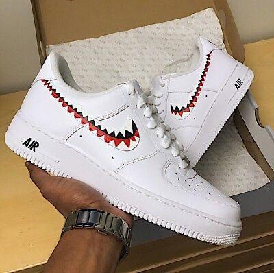 quality design aa1cf c9b1b Custom Nike Air Force 1 Sharks   eBay