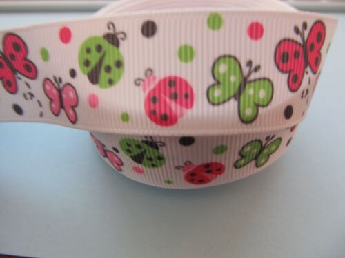 "Grosgrain Mariposa Y Lady Bird Bug Cinta 7//8 /"" 22 Mm"
