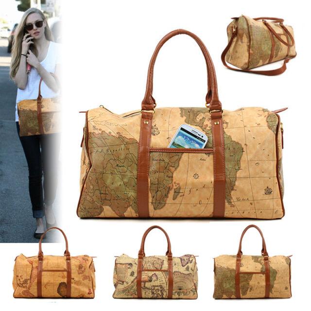 NEW Shoulder Bag Tote Duffel travel World Map Boston Bag CrossBody Handbag Large
