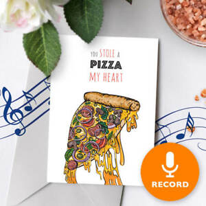 120s Funny Valentines Day Card Musical Greeting Pizza Pun Cute Love