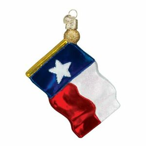 Old-World-Christmas-TEXAS-STATE-FLAG-36045-N-Glass-Ornament-w-OWC-Box