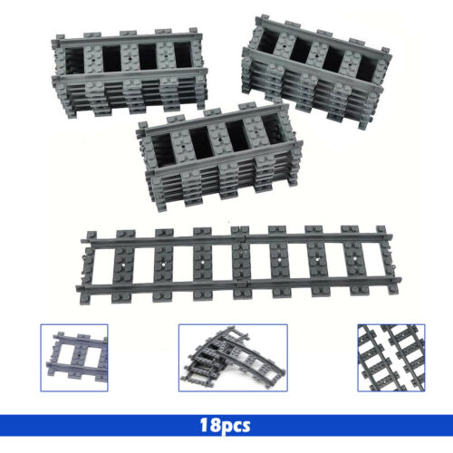 Compatible with Kid Toy 18pcs Straight Train Track Railroad Non-Powered Rail
