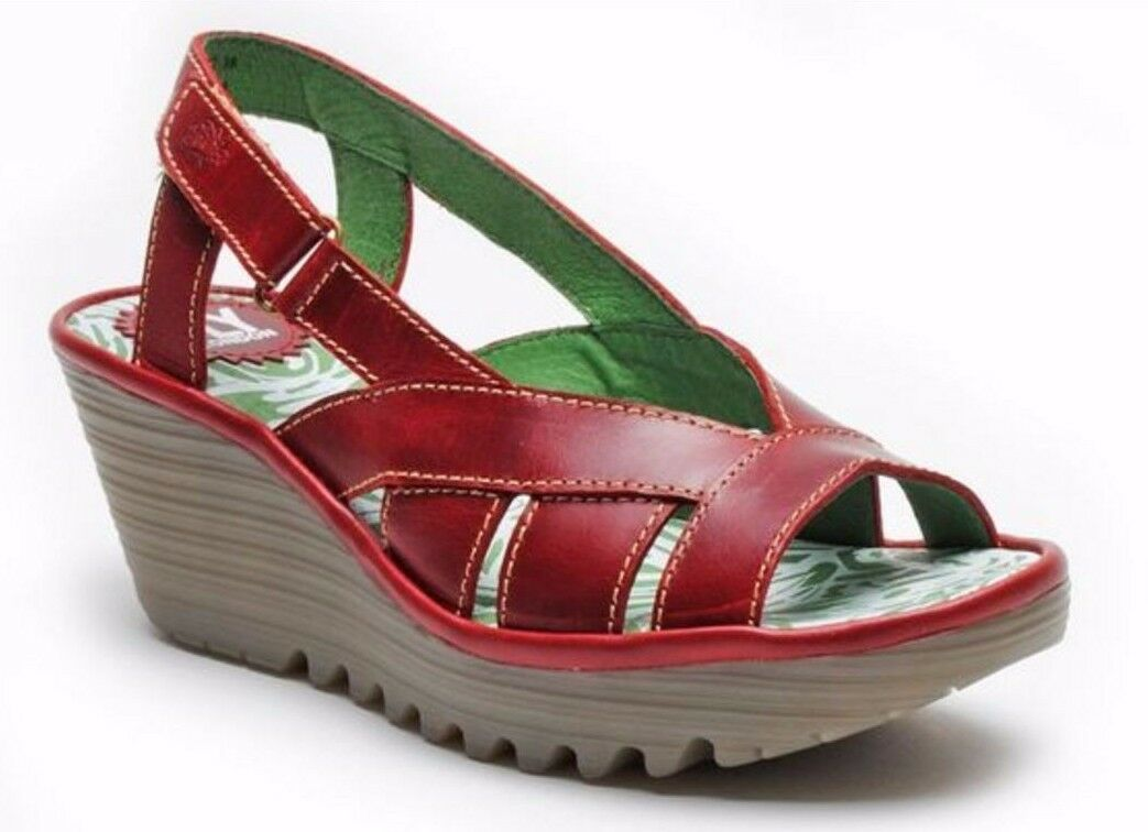 FLY LONDON SHOES YISA WEDGE SANDALS SLINGBACK RED LEATHER PLATFORM 8  175