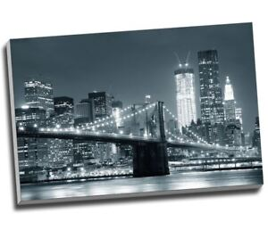 Details About Black White New York City Brooklyn Bridge Canvas Print Wall Art 30x20 A1