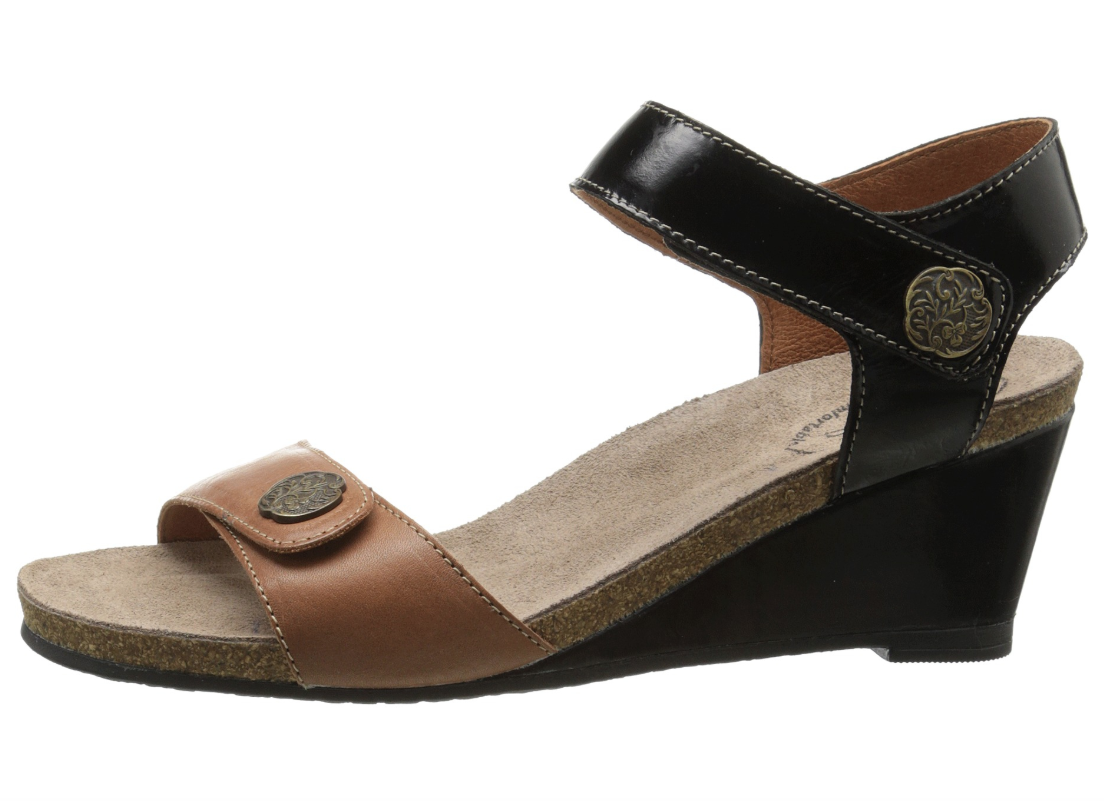 Taos Womens Brown Black Festival Wedge Sandals Sz 36 EUR 10127