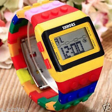 Mens Watches Digital Colorful Rainbow LED Womens Bracelet Wrist Watch Xmas Gift