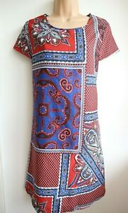 BOOHOO-Women-039-s-Multi-Coloured-Printed-Tunic-Shift-Dress-Size-14