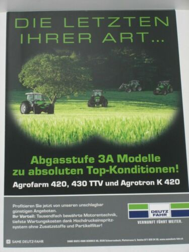 DEUTZ-FAHR Agrofarm 420 Agrotron K 420 Traktoren Prospekt 430 TTV 2912