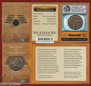 2006-50yrs-Of-Australian-Television-TV-1-Unc-Coin-039-C-039-Canberra-Privy-Mark
