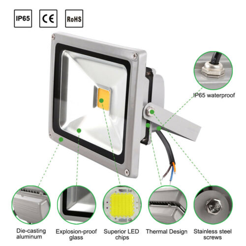 New LED Floodlight Outside Wall Light 10W-1000W Security Flood Lights Cool White