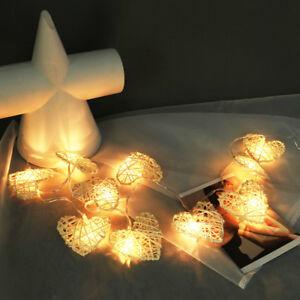 Cœur Chaud Guirlande Fête Décor Soirée Lampe 10led Rotin Noël Blanc QtrCshd