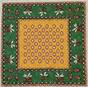 VINTAGE-AUTHENTIC-FLORAL-ART-OLIVE-BEE-GREEN-MUSTARD-BROWN-COTTON-COASTER-DOILY