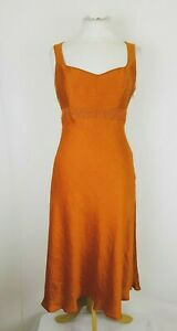 Kaliko-Rust-Linen-Mix-Fit-Flare-Party-Evening-Dress-UK-8-Occasion-Wedding-Guest