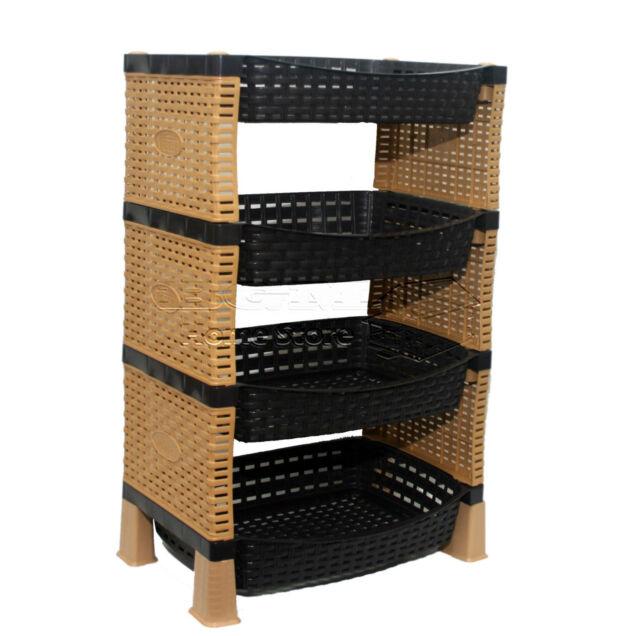 Raddan Stylish 4 Tier Plastic Fruit Vegetable Kitchen Storage Rack Trolley Cs S