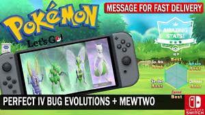 Pokemon-Let-039-s-GO-Shiny-Scyther-Pinsir-BeeDrill-amp-Mewtwo-6-IV