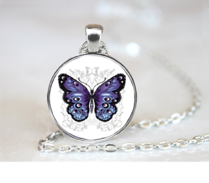 Purple-Butterfly-PENDANT-NECKLACE-Chain-Glass-Tibet-Silver-Jewellery