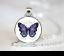 Purple-Butterfly-PENDANT-NECKLACE-Chain-Glass-Tibet-Silver-Jewellery miniature 1