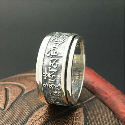 Real 925 Sterling Silver Ring Six-Word Mantra Rotation Men/'s Size 7 8 9 10 11 12