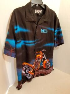 Club-Shirt-Mens-Large-Authentic-Lounge-Shirt-Waist-Management-Motorcycle-Casual