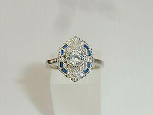 Damen-Art-Deco-Design-925-Sterling-Silber-Blau-amp-Weiss-Saphir-Ring