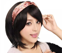 Sweet Women's Short Straight Lace Natural Black Human Hair Wigs Chinese Texture