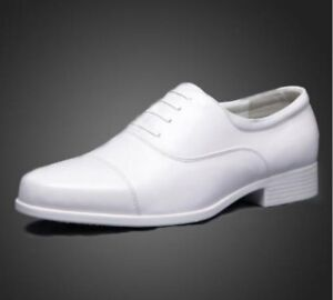 Mens-Oxford-Dress-Formal-SHoes-Cap-Toe-Wedding-Groom-White-Shoes-Casual-Business