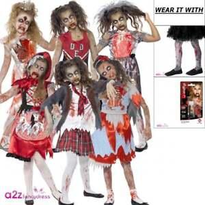 Zombie Miss Hood Red Haloween Girl Childs Kids Girls Fancy Dress Costume