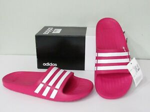 93e28f53738571 adidas Duramo Pink White 3-Stripe Slide Sandals Youth Girls Select ...