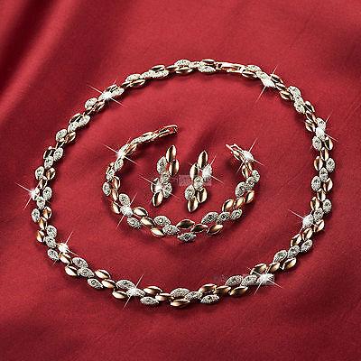 18k 2-tone gold gf made with SWAROVSKI crystal earrings bracelet necklace set