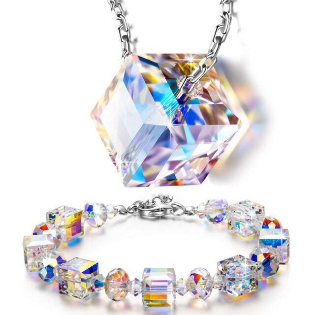 """Aurora Borealis Bracelet with Swarovski Crystals 18K White Gold  6 1/2"""" to 8"""""""
