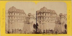 Chateau-de-Blois-France-Photo-Stereo-BK-Paris-Vintage-Albumine-ca-1870