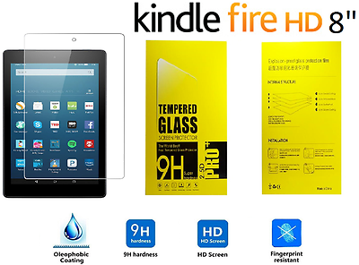 """100% Genuine Tempered Glass Screen Protector For Amazon Kindle Fire Hd 8"""" 2018"""