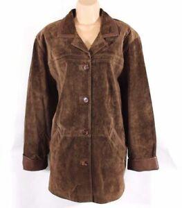 Women-039-s-Vintage-EURO-LEATHER-Brown-100-Leather-Suede-Oversized-Jacket-UK14-UK16
