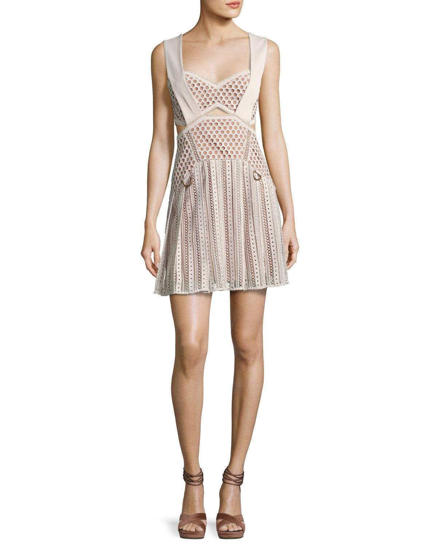 Self Portrait Avery Mini Dress Beige Beige Beige 2 4 6 NWT  545 Authentic 44cc1f