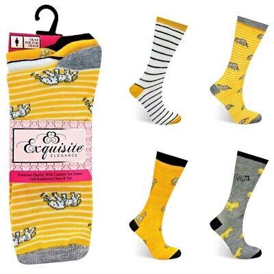 3 Pack Ladies Exquisite Elegance Coloured Design Cotton Rich Socks UK 4-7 1838