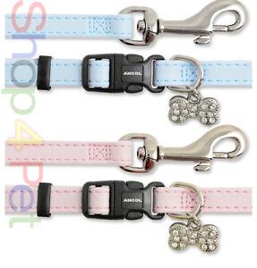 PUPPY-COLLAR-LEAD-SET-for-SMALL-DOG-DIAMANTE-COLLAR-amp-LEAD-Bone-Charm-FOR-PET