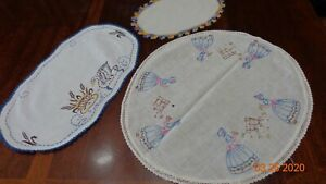Mixed-lot-3-Vintage-Cotton-Dresser-scarfs-Hand-Embroidered-Swan-an-Girls-playing