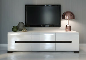 Modern Perfect Tv Unit Tv Cabinet White High Gloss New Azteca